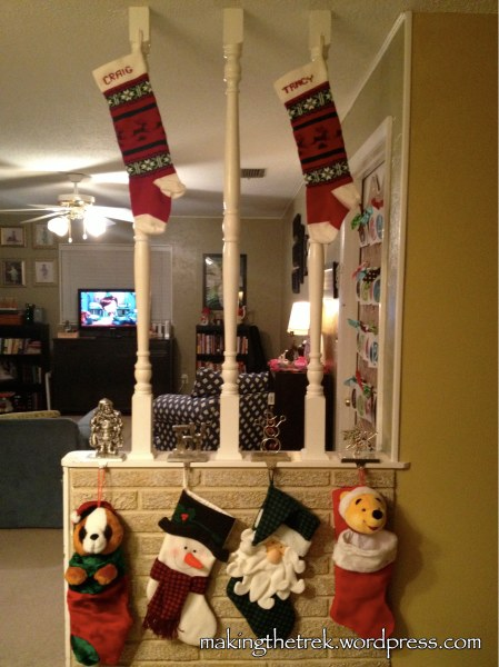 The stockings are hung...and our youngest is concerned the Big Guy might not be able to reach Mom and Dad's!