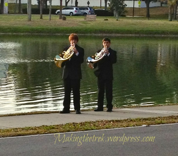 Pre-Mass warm up by the lake.