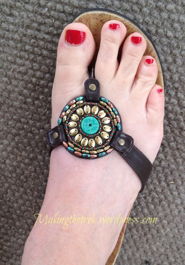 Love these sandals.  Disregard the sad state of the pedicure...just ran out of hours this weekend!