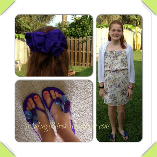Our oldest girl and her VERY purple shoes (Kohl's) and matching hair bow (farmer's market)  and Aeropostale dress (thrifted) with my (Kohl's) sweater.