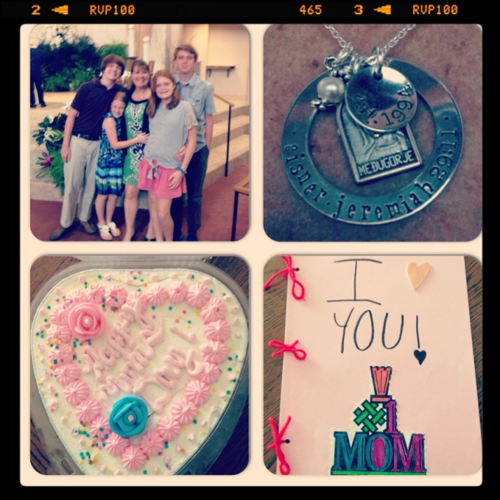 Mom's photo after Mass, my awesome necklace, cake and card.