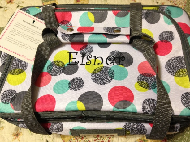 "My great casserole dish bag from ""Thirty One""..HMU if you want one, I'll put you in touch with Amanda!"