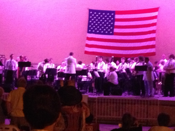 The DSC summer festival band; our boy was invited to play by his instructor.