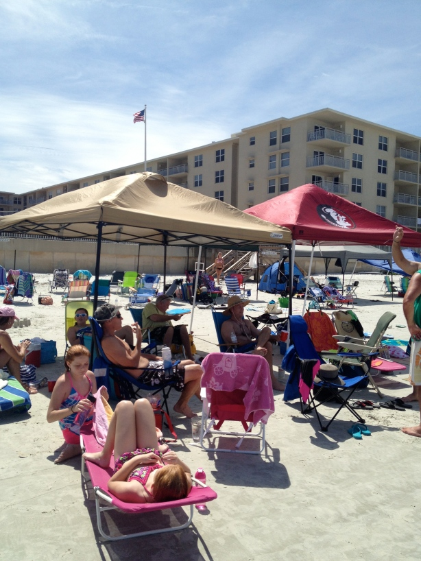 Home base on the beach.  Look for the FSU tent.