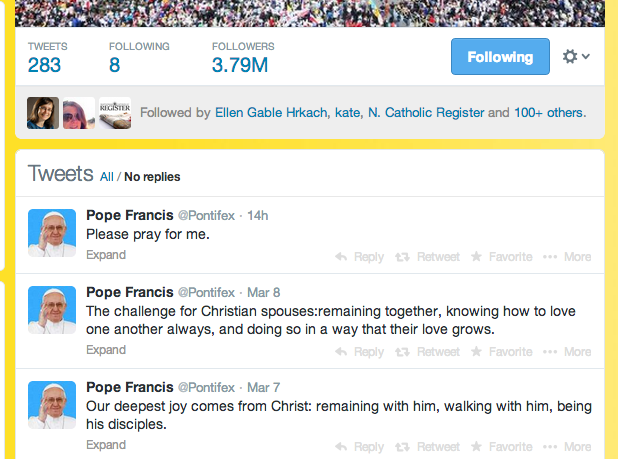 Credit:  my twitter page.  Don't YOU follow Pope Francis?