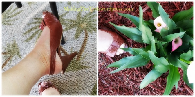 Franco Sarto shoes, perfect heel/height and whoa, they match my mulch!  Bonus.  Extra credit my birthday Calla Lilies!
