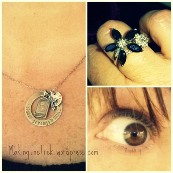 Fave necklace, fun ring and BOOM blue eyeliner...b/c I couldn't find my brown.