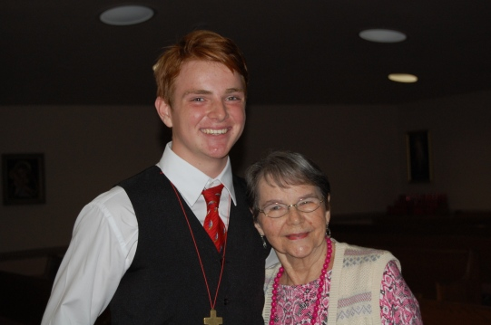 Our boy with my grandmother, his sponsor!
